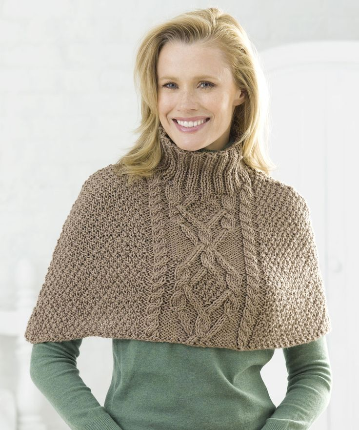 Cabled Poncho - Free Knitted Pattern - (redheart)