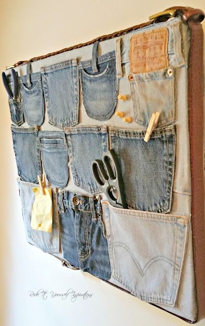 Must have a go at this! DIY Repurposed Denim Wall Organizer. This is such a great idea for using up your old jeans.