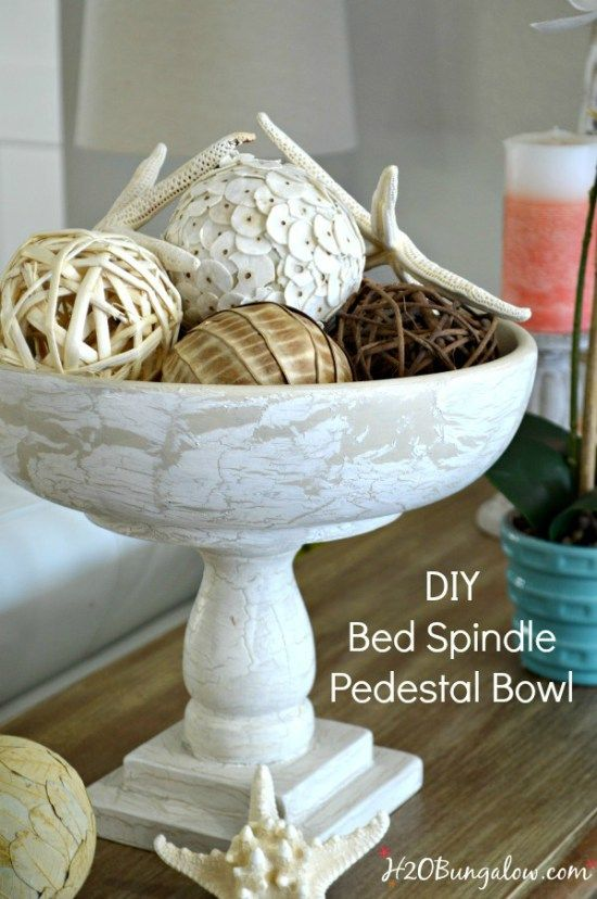 Tutorial to make a repurposed DIY bed spindle pedestal bowl from a bed frame and wood bowl. Make with or without power tool. Awesome home decor item. H2OBungalow