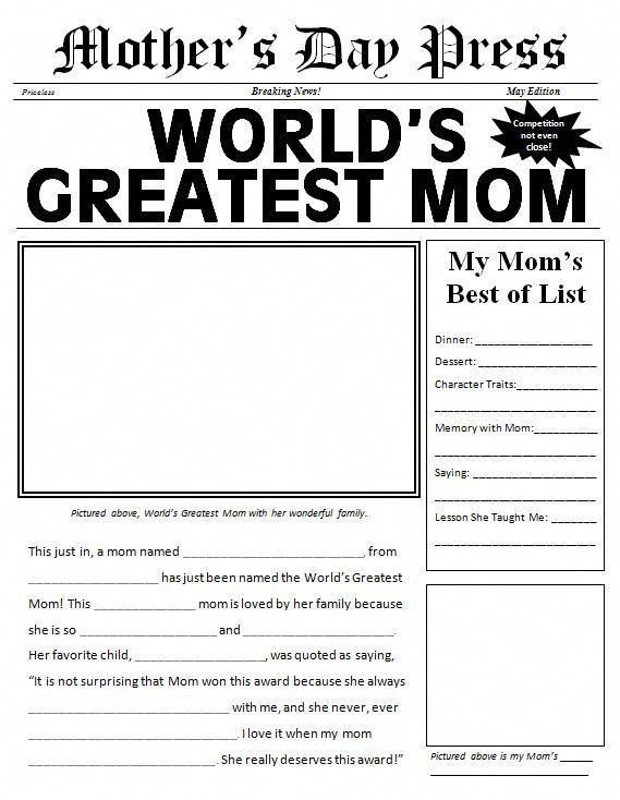 Free printable Mother's Day Newspaper Template #mothersdayideas – Traci bryan