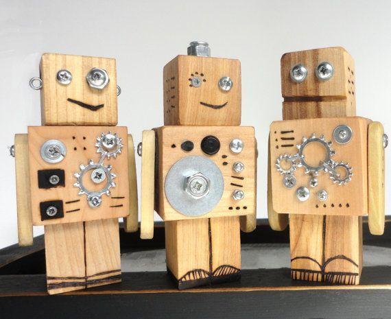 Holzspielzeugroboter – Roboter-Spielzeug-Set – #Robot #Roboter #Set #Toy #Wood