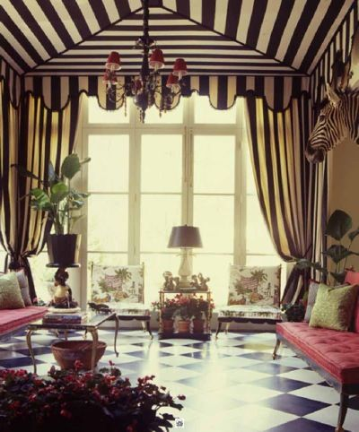 Love and adore this regency room, the tent, classic black and white parquet, love the pink settees. This could be now or 50 years ago.
