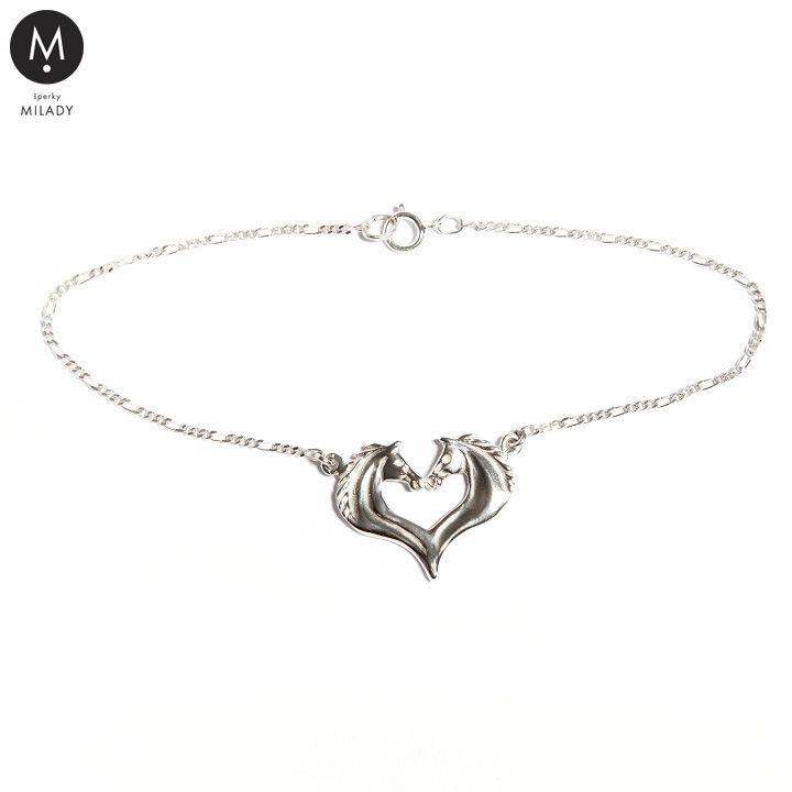 VŠECHNY ŠPERKY | Náramek koňské srdce - Stříbro 925/1000 jemný řetízek | MILADY šperky, jezdecké a koně