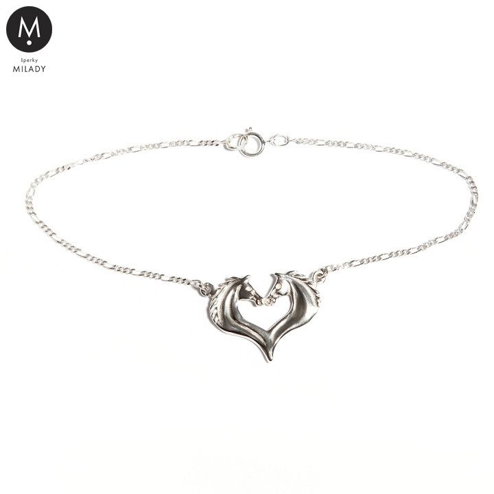 VŠECHNY ŠPERKY   Náramek koňské srdce - Stříbro 925/1000 jemný řetízek   MILADY šperky, jezdecké a koně