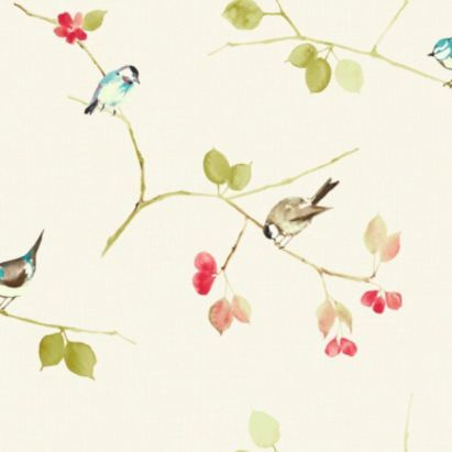 Songbird Wallpaper in Coral by Arthouse Eco...Maybe for the wall by the back door, not too overpowering