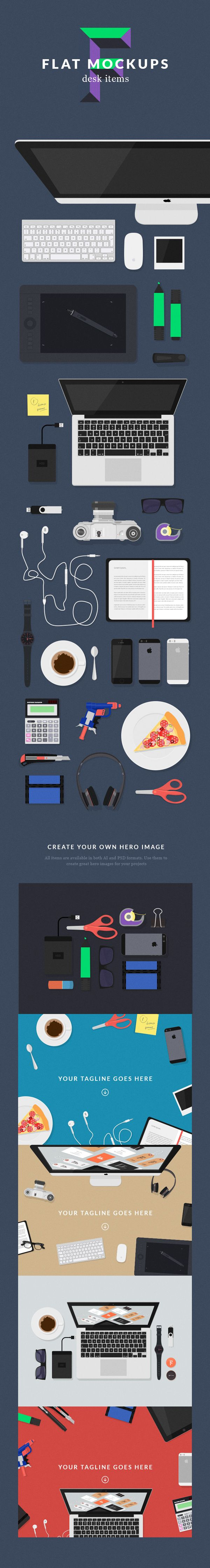 Flat MockUps – Desk Items | GraphicBurger