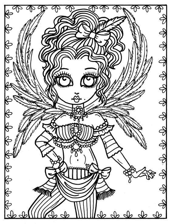 5 pages Gothic Angels Digital Coloring, adult coloring ...