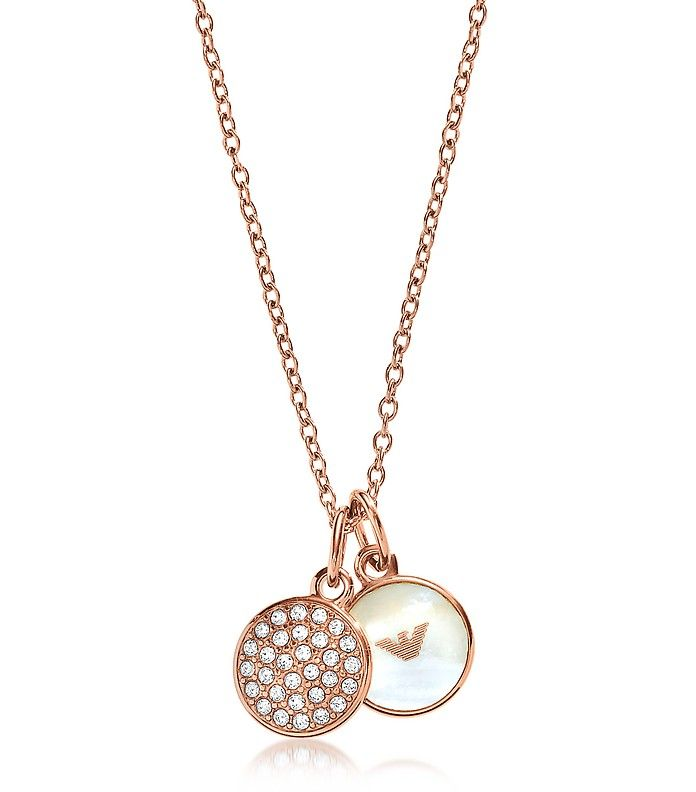 EMPORIO ARMANI Signature Rose Goldtone Necklace w/Double Charms. #emporioarmani #