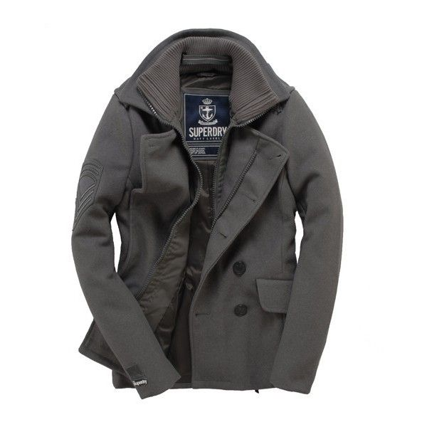 Men S Superdry Classic Pea Coat Jacket, Superdry Classic Pea Coat Navy