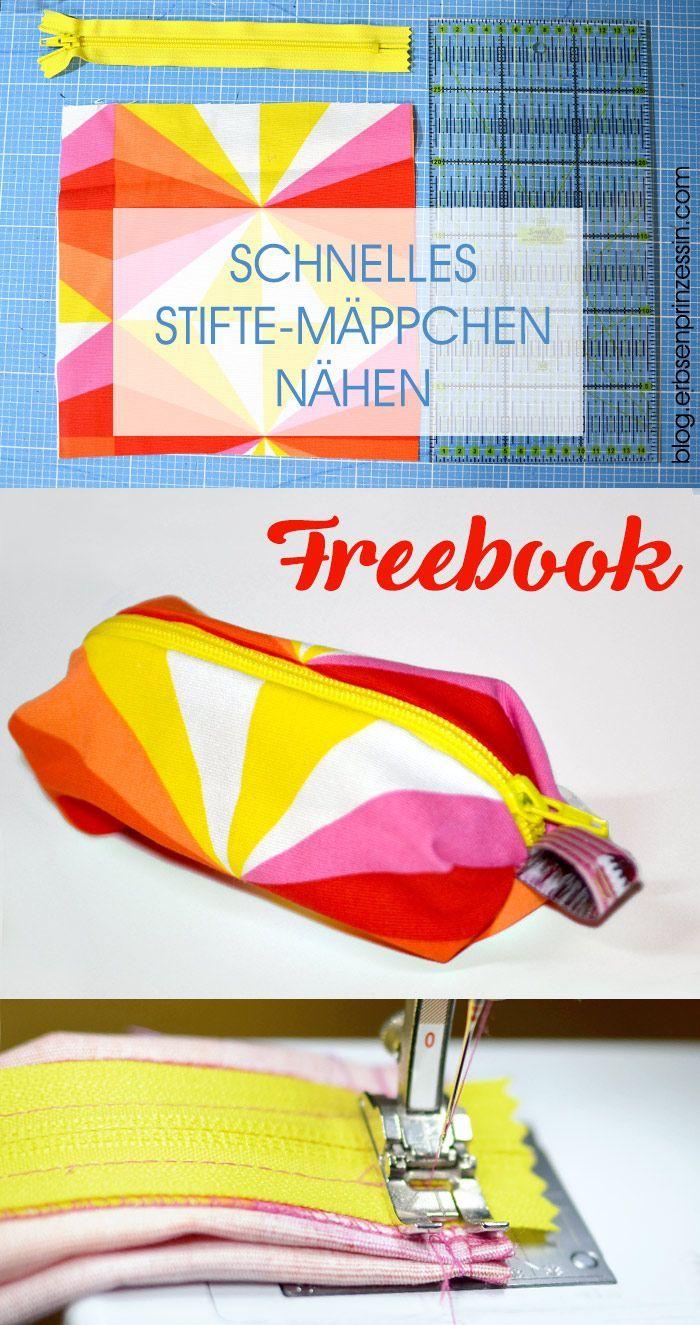 Näh-Freebook, Gratisanleitung: Schnelles Stiftetäschchen / Schlampermäppchen / Stifte-Etui nähen #stiftemäppchen #schlampermäppchen #nähen #anleitung #download