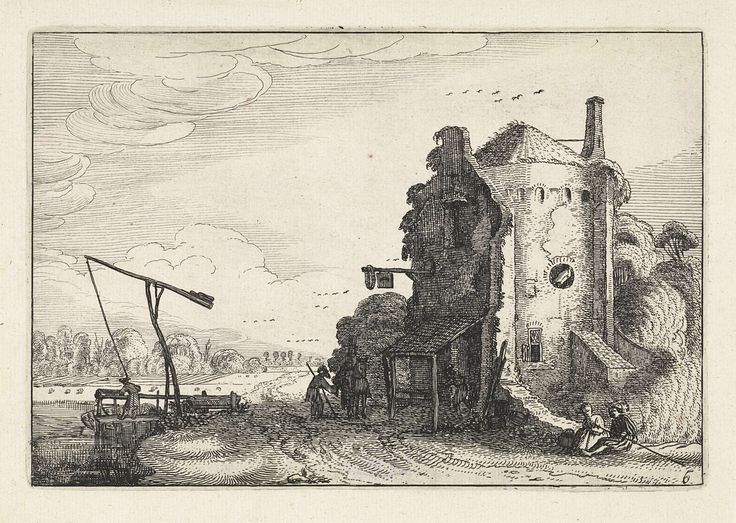 Jan van de Velde (II) | Figuren bij een herberg in een ronde toren, Jan van de Velde (II), 1616 | Figuren bij een herberg in een ronde toren in een landschap. Links een man die water uit een rivier haalt. Zesde prent van een serie van in totaal zestig prenten met landschappen, verdeeld over vijf delen van elk twaalf prenten.