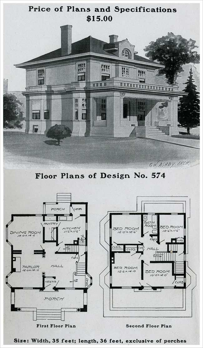 1903 radford american home house plans for Vintage home floor plans