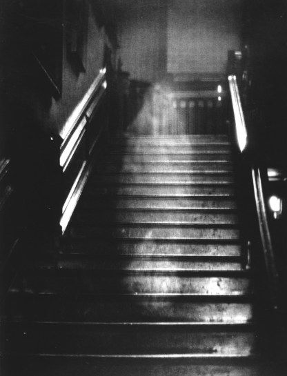 The Brown Lady of Raynham Hall Taken in 1936 during a photo shoot for Country Life magazine by Indra Shira, this famous real ghost picture of an apparition descending the stairs has been viewed round the world. Indra saw the white form taking shape and ordered his assistant to snap a picture of the staircase. His assistant, who did not see the white vapor, bet Shira that nothing would be in the picture - he lost five English pounds on the bet.