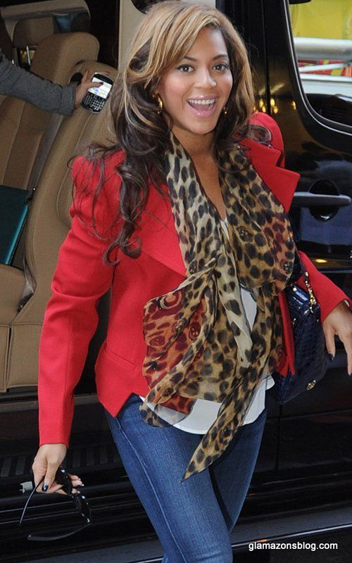 red blazer w/ print scarf.  Good timing!  I bought this scarf today!