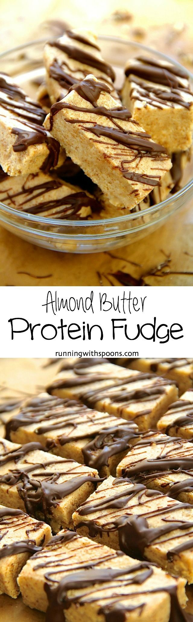Almond Butter Protein Fudge -- Naturally sweetened 5-ingredient fudge that packs a decent dose of protein!    runningwithspoons.com #glutenfree #healthy