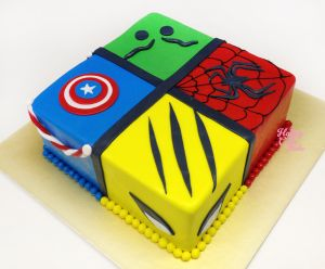 Marvel Heroes Cake - Captain, Hulk, Spidey & Wolverine -- actually looks doable!