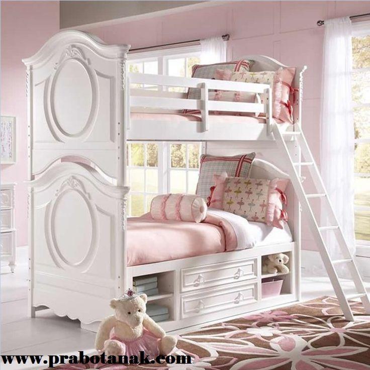 Tempat Tidur Tingkat Anak Perempuan Putih Angela