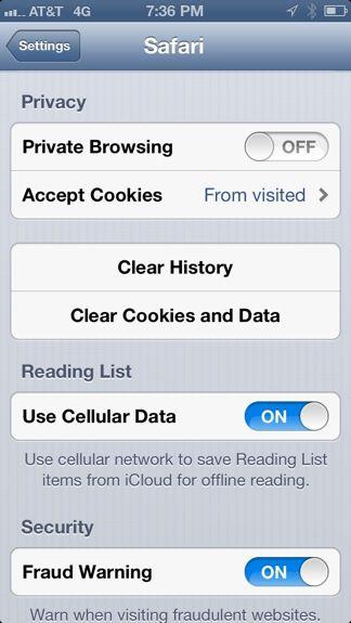 iphone safari history tracking