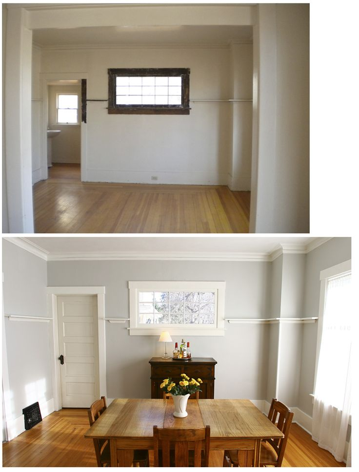 Dining room before and after, Benjamin Moore Grey Owl GREAT COLOUR