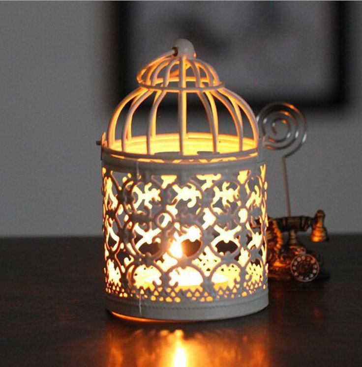 Round Metal Moroccan Votive Candle Holder Hanging Lantern Home Centerpieces with Base