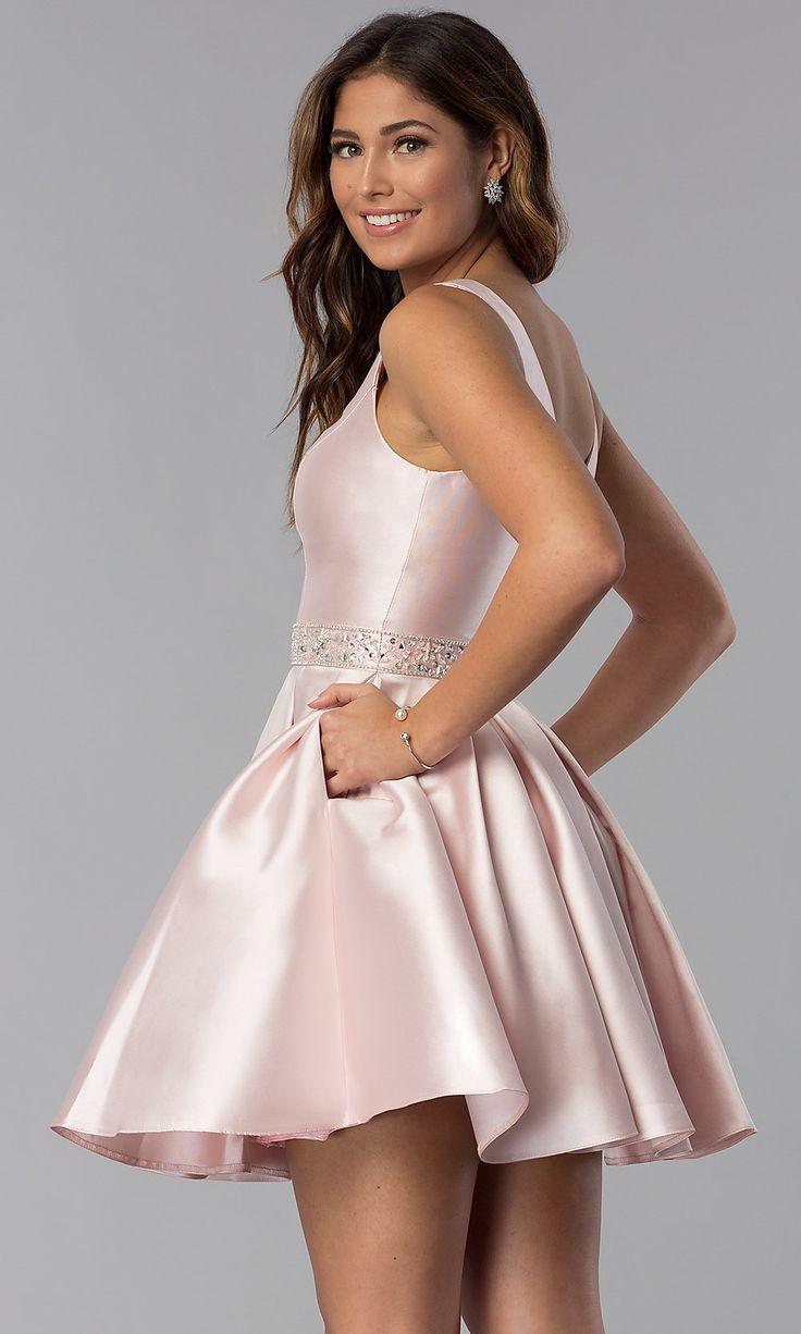 Short Embellished-Waist V-Neck Homecoming Dress in 10