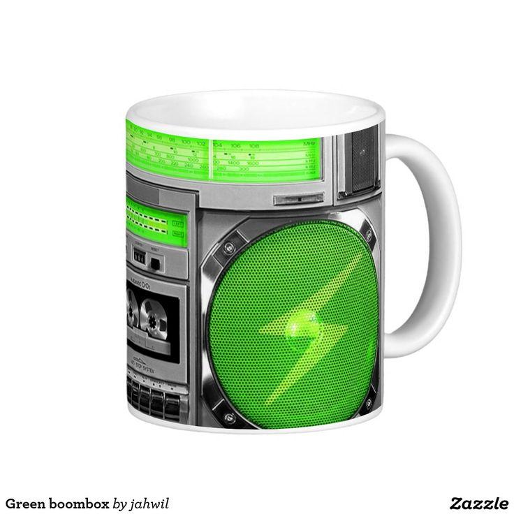#boombox #music #hiphop #stereo #oldschool #ghettoblaster #urban #mug Green boombox coffee mug