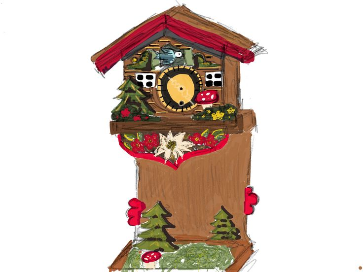 53 paper drawing of the gorgeous vintage cuckoo clock I got for Christmas, Thank you Mum and Jarrod!