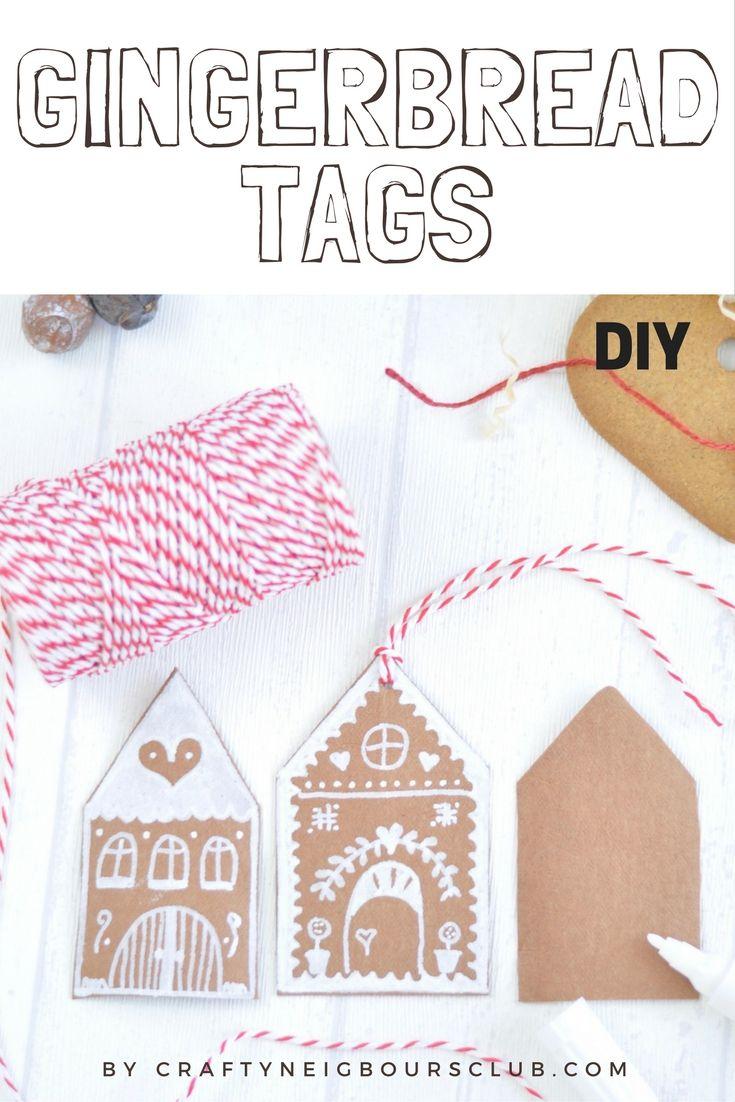 Diese süßen Lebkuchenhäuschen - Anhänger sind perfekt für einen lieben Weihnachtsgruß am Geschenk. Unser DIY auf dem Blog Gingerbread-Tags