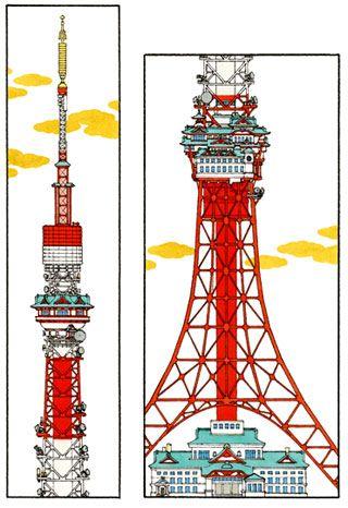 《東都百景 東京タワー》 メディア:紙にペン、水彩