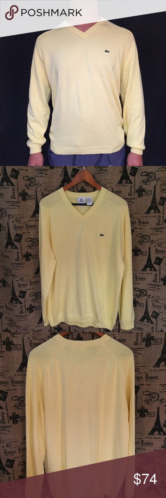 NWT Lacoste Men's V Neck Sweater Size L 6 Brand: Lacoste Size: L 6 Description: Long Sleeve v neck with Lacoste embroidered logo Condition: NWT If more measurements are needed, please don't hesitate to ask! Bundle Discount Available! Reasonable offers welcome! No trades please.. Thanks for stopping by!! #Poshmark #Poshmarkapp #Poshmarkcloset Item #1977 Lacoste Sweaters V-Neck