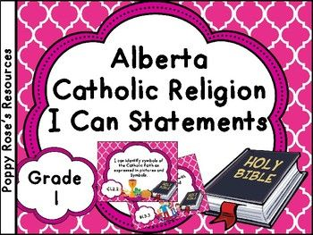 Are you teaching in a Catholic school in Alberta? This pack contains the I can statements for the Alberta Catholic Religion Grade 1 curriculum. Each I can is displayed in a poster format for display in your class. It is a great way to keep your teaching on track covering all the outcomes for