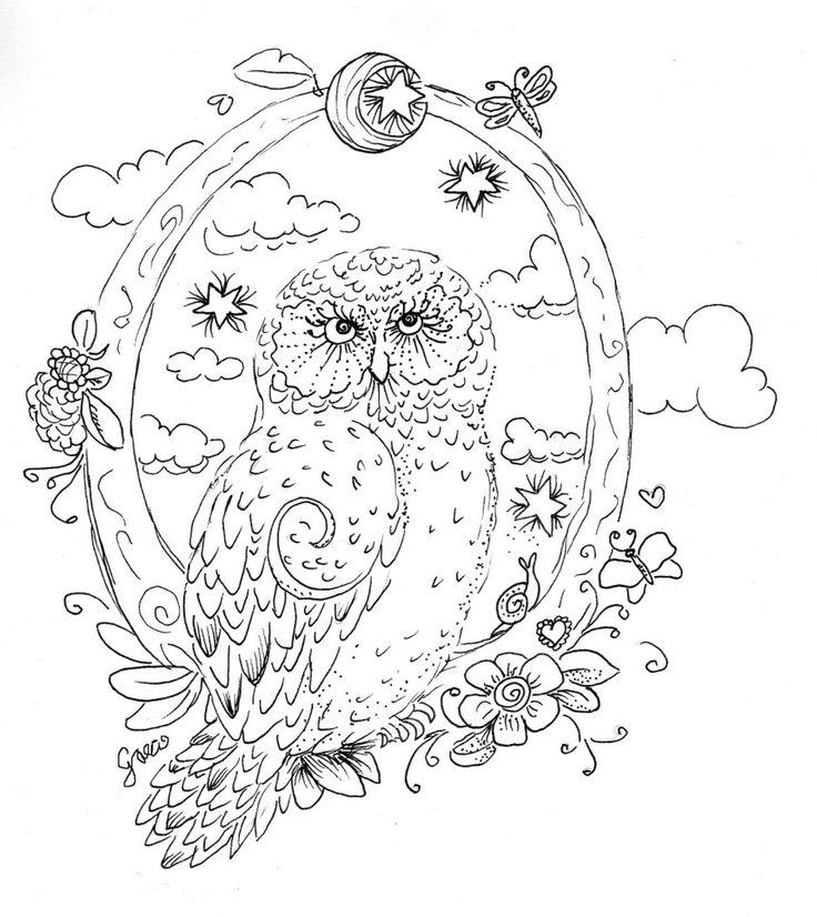 unique coloring pages owl cartoon - photo#6