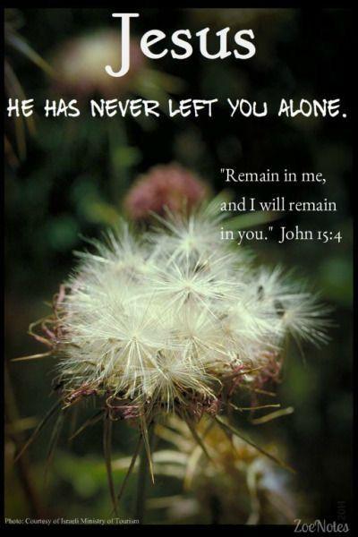 Jesus has never left you alone. John 15:4.