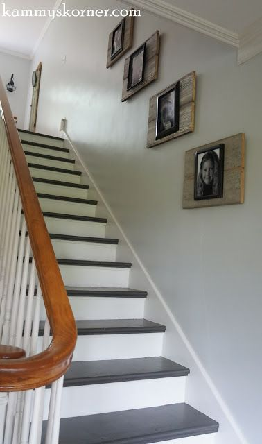 painted stairs photo display
