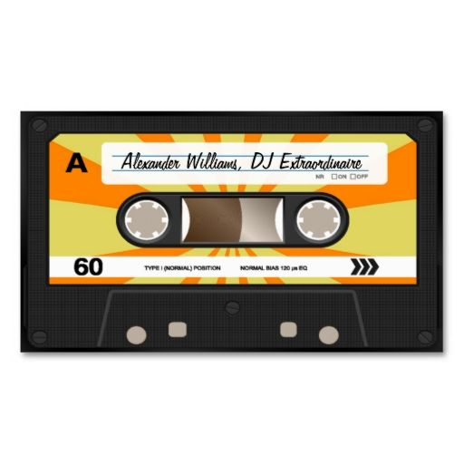 Orange/Yellow Cassette Tape Business Card Templates. This great business card design is available for customization. All text style, colors, sizes can be modified to fit your needs. Just click the image to learn more!