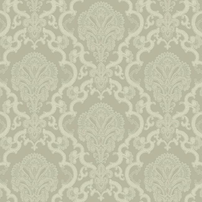 Halifax Lace Wallpaper in Grey design by York Wallcoverings