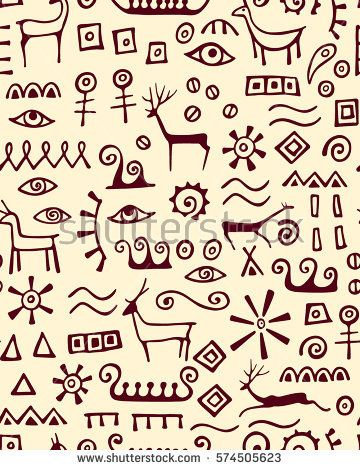 Vector seamless pattern with hand drawn elements made in cave drawings style. Beautiful ancient design elements, perfect for prints and patterns.
