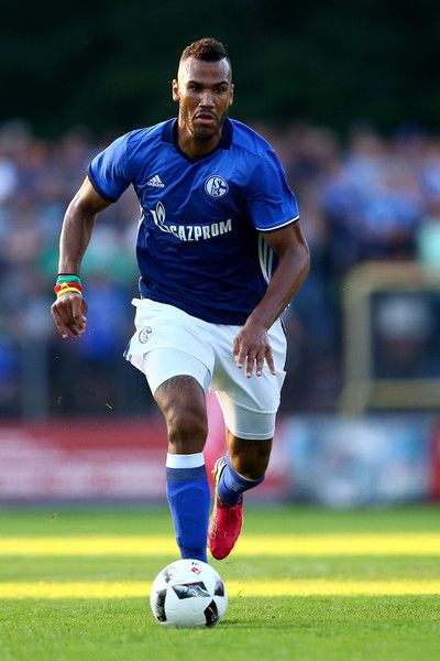 Eric Choupo-Moting of Schalke runs with the ball during the friendly match between DSC Wanne-Eickel and FC Schalke 04 at Mondpalast Arena on July 19, 2016 in Herne, Germany.