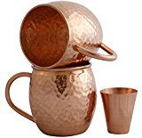 #7: Set of 2 Moscow Mule Copper Mugs with Shot Glass  Two 16 Oz Copper Moscow Mule Mugs  Solid Copper Hammered Mug  Copper Cups for Moscow Mules