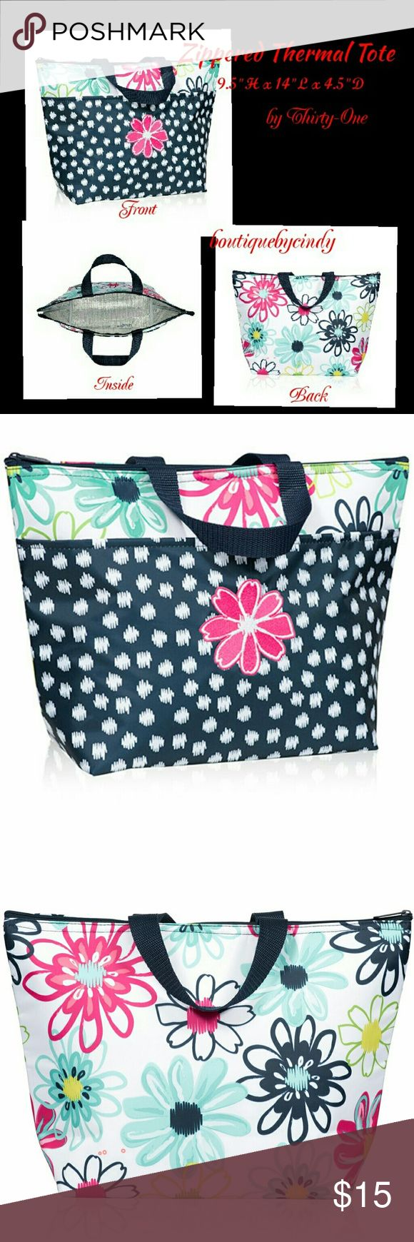 """Thermal Tote by Thirty-One Brand new and unused!    This classic favorite now comes in this FUN Loopsy Daisy Print! It's great for taking lunch on the go. Whether it needs to say warm or cold, it does the job! Great for school, work, ballgame or keeping baby bottles cold. Approx size 9.5""""H x 14""""L x 4.5""""D. Thirty-One  Bags Totes"""