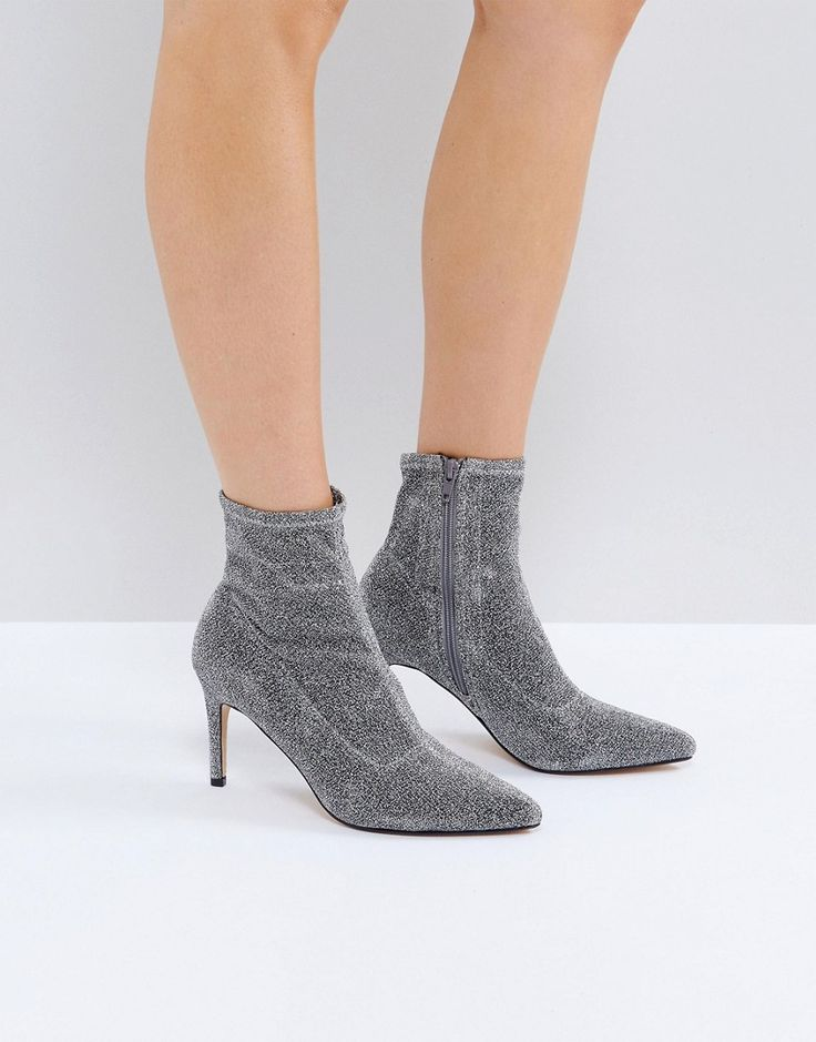 Truffle Collection Sock Stiletto Boot - Silver