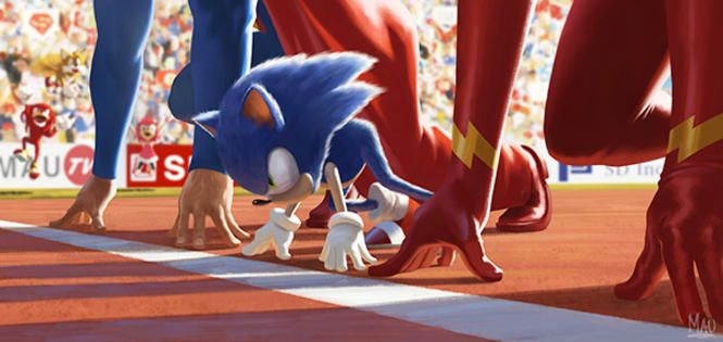 Look At Knuckles Jumping In The Background Sonic The Hedgehog Imagination Art Concept Art World
