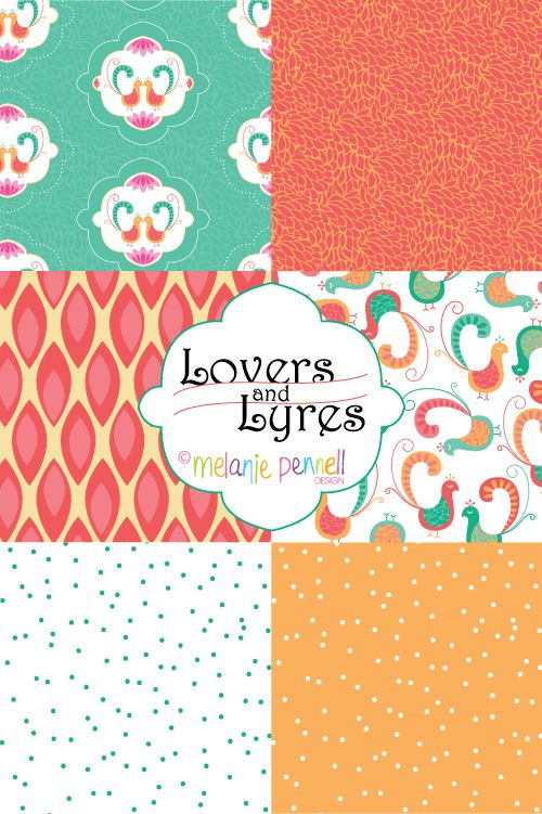 Lovers and Lyres © Melanie Pennell Design Surface Pattern Design