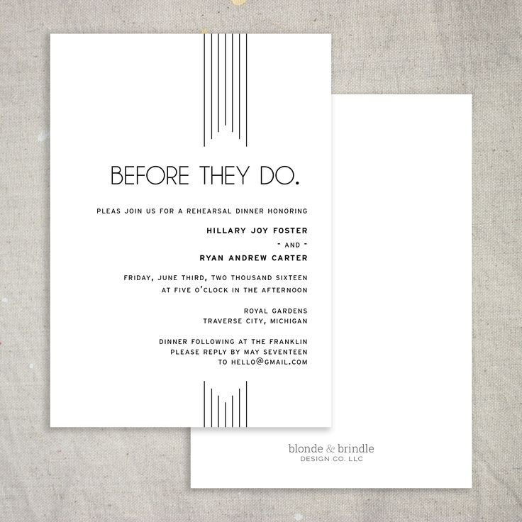Beautiful, simplistic, art deco rehearsal dinner invitation! Completely customizabel to fit your event seamlessly!