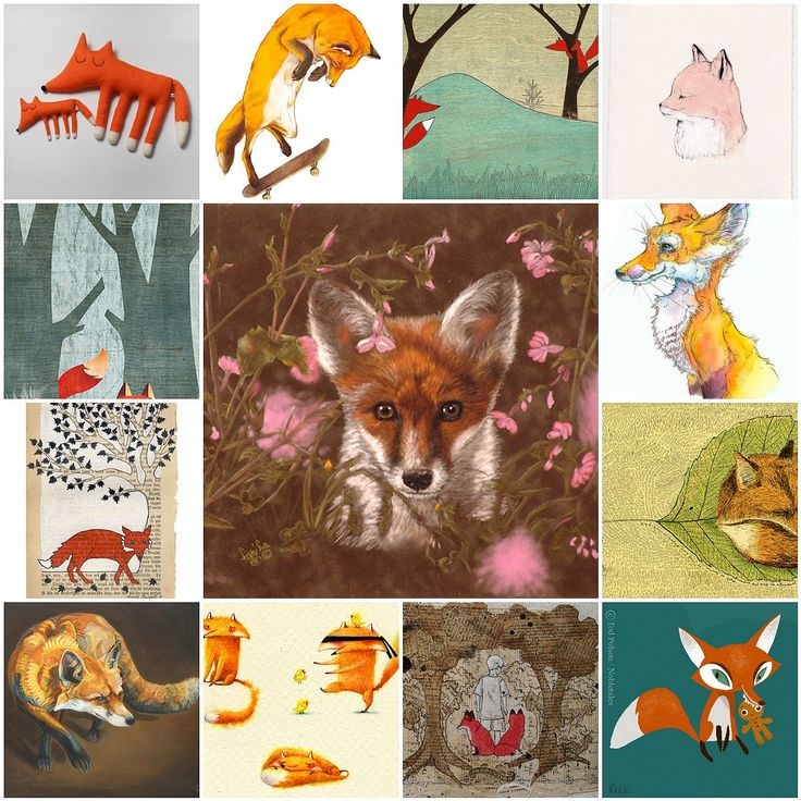 https://flic.kr/p/8DkA5c | Fox art mosaic | 1. Pinkaboo Fox, 2. Big Monty and Little Monty, 3. Fox doing the impossible!, 4. 2.67 I miss You, 5. Fox, 6. Little Red Fox (IF:Wilderness), 7. Herald Holloway, 8. Fox and tree -  New print available., 9. Un ami pour Lucas, 10. Fox, 11. Untitled, 12. involution, 13. Ms. Fox  Created with fd's Flickr Toys