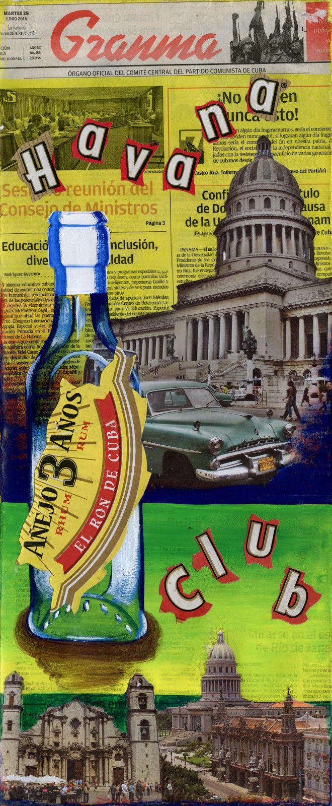 """awesome CUBAN ART ** HAVANA CLUB II ** ORIGINAL COLLAGE 10X23""""APPROXIMATELY Check more at https://aeoffers.com/product/arts-and-crafts-collectibles-handmade-online/cuban-art-havana-club-ii-original-collage-10x23approximately/"""