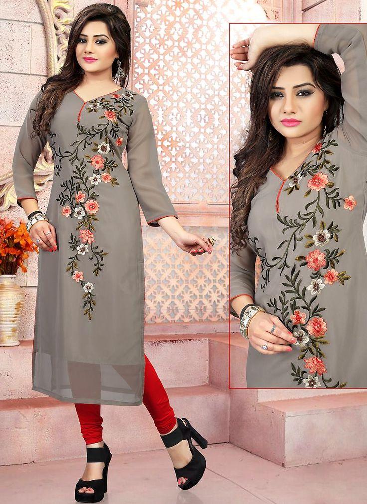 Grey Color with Embroidery Work Incredible Readymade Kurti Online Shopping #kurta #kurti #wholesale