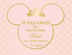 Minnie Mouse Royal Pink and Gold Crown Tiara Printable