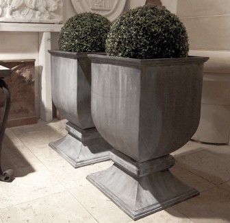 authenticprovence.com - 'Chester' English lead urn planter on pedestal foot