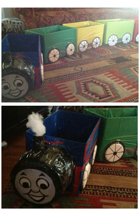 DIY Thomas the Train! Made from old boxes disposable tablecloths a black trash bag and colored duct tape. The wheels are paper plates the smoke stack is ... & 131 best Thomas the Train images on Pinterest   Thomas the tank ...